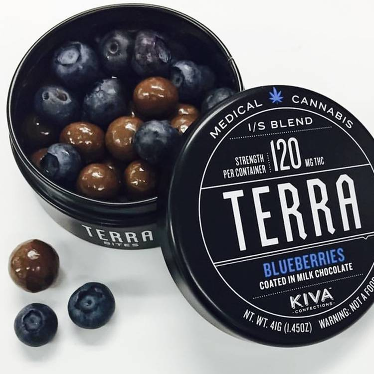 Terra Chocolate Covered Blueberries - 120 MG minimum per container. Coated in both milk and white chocolate. - Edible