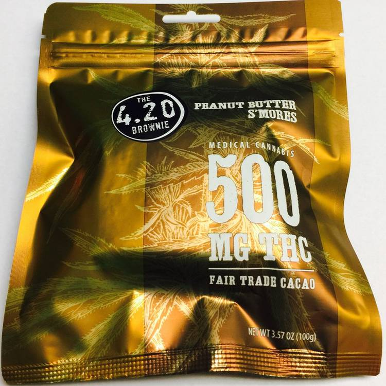 Venice Cookie Company 420 Brownie (500MG) - This amazing Peanut Butter Smores brownie contains 500 MG of THC. - Edible