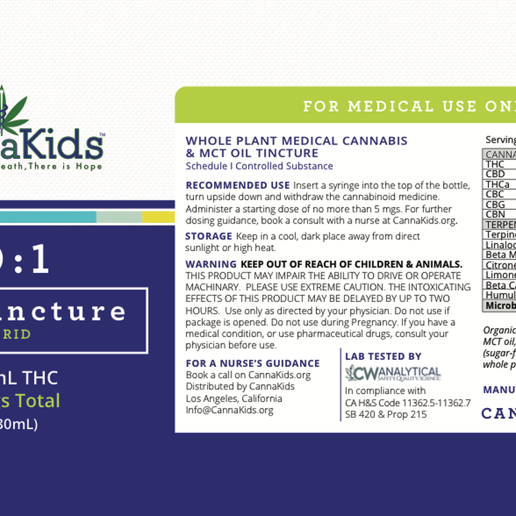 Cannakids THC Tincture analysis2